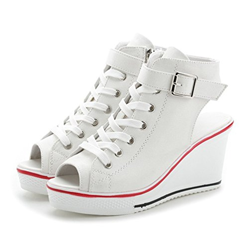 de de Lona JRenok Senderismo Blanco Mujer Zapatillas Hqw5Rtv