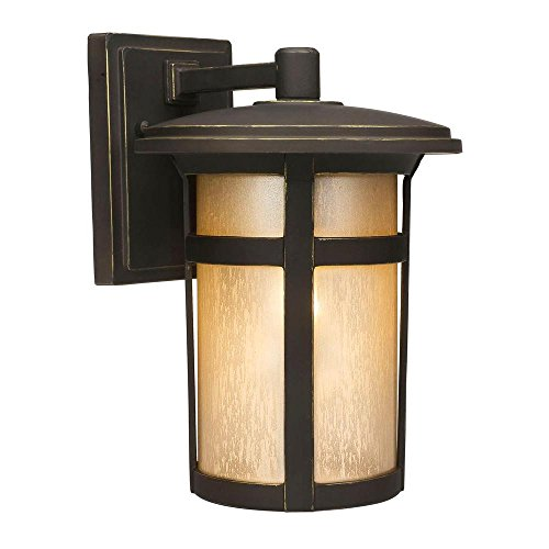 Home Decorators Collection Round Craftsman 1-Light Dark Rubbed Bronze Outdoor Wall Lantern