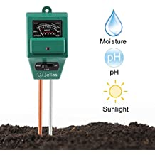 Jellas Soil pH Meter, 3-in-1 Moisture Sensor Meter/Sunlight/pH Soil Test Kits test function for Home and Garden, Plants, Farm, Indoor/Outdoor Use. (3-in-1 Soil pH Meter)