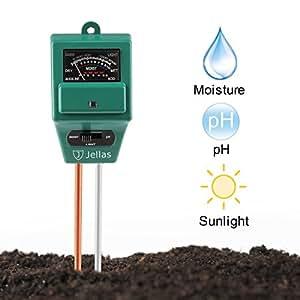 Jellas Soil pH Meter, 3-in-1 Moisture Sensor Meter/Sunlight/pH Soil Test Kits test function for Home and Garden, Plants, Farm, Indoor/Outdoor Use. (3-in-1 Soil pH Meter)