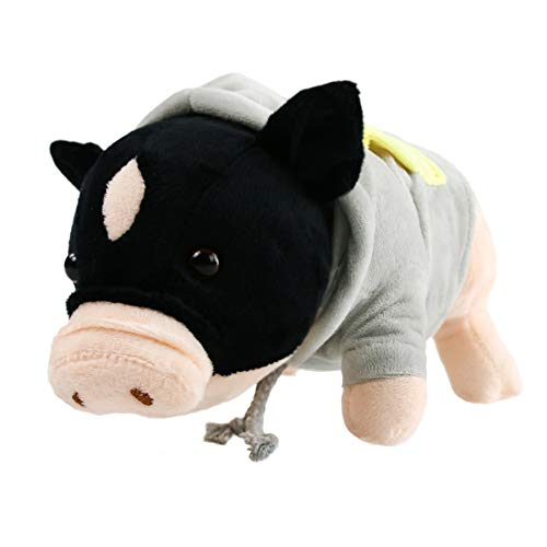 Houwsbaby Miniature Pig Stuffed Animals Plush Porker Realistic Chubby Soft Toy in Hoody with Curly Tail, Cuddly Gift for Kids Halloween Christmas, Black, 12'' (Miniature Plush)