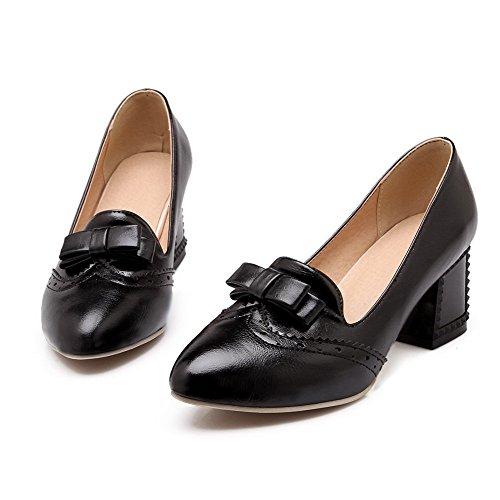 AllhqFashion Damen Spitz Zehe Ziehen auf PU Mittler Absatz Pumps Schuhe Schwarz