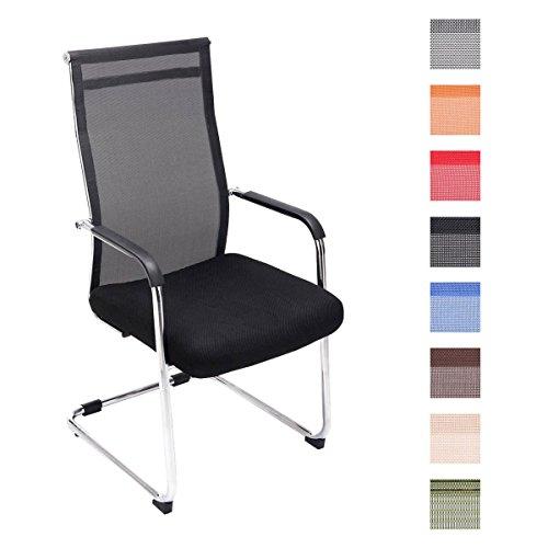 CLP Freischwinger-Stuhl mit Armlehne BRENDA, Netzbezug, Besucherstuhl / Konferenzstuhl mit gepolsterter Sitzfläche, FARBWAHL schwarz
