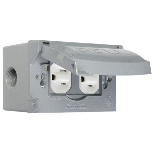 Hubbell-Bell MK1250S Weatherproof Kit with Single Gang Box, Horizontal Cover and Duplex Receptacle, Gray (Box Weatherproof Gang Single)