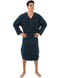 Mens Flannel Nightshirt, 100% Cotton Long Sleep Shirt