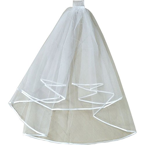 Simple Wedding Veil with Comb - Bailuoni (White)