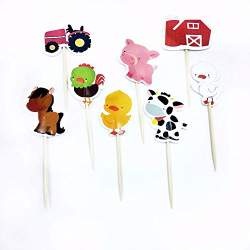 Farm Animal Cupcake Toppers, Cake Decorations, Appetizer Picks for Kids Birthday Party, Themed Party (72 pack) by NADARDA (Image #6)