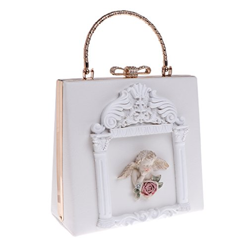 Kofun Women Evening Bag, Wedding Party Bags Lovely Women 3D Relief Angel Luxury Chain Crossbody Bag Shoulder White - White Angels Handbag