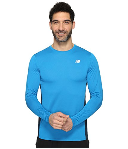 New Balance Men's Accelerate Long Sleeve Shirt, Barracuda, - Long Sleeve Barracuda