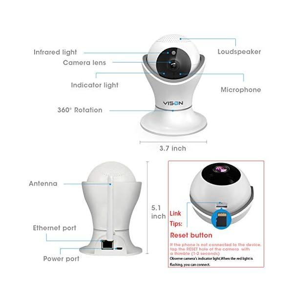 VINSION HD 1080p Pet Camera,Dog Camera 360° Pet Monitor Indoor Cat Camera with Night Vision and Two Way Audio 6