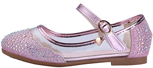 miaoshop Kinder Flache Schuhe Mary Jane Casual Slip On Ballerina Mädchen Glas Glitzer Schuhe Pink