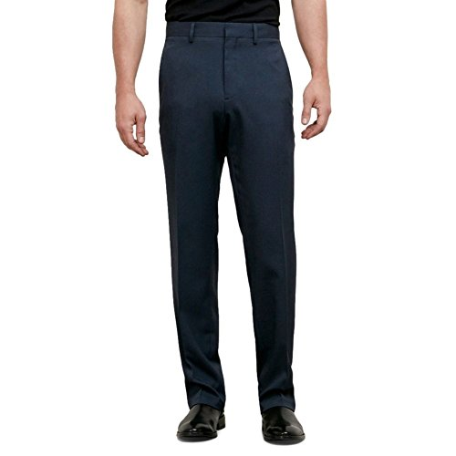 Kenneth Cole Reaction Men's Heather Stretch Modern Fit Flat Front Pant, Navy, 38x34 Navy Flat Front Dress Pants