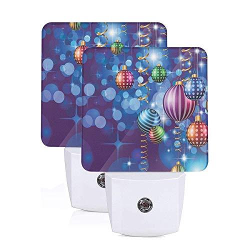 (VANMASS Christmas Swirling Ornaments Balls Plug in Light Sensor Auto On/Off LED Night Light Set of)