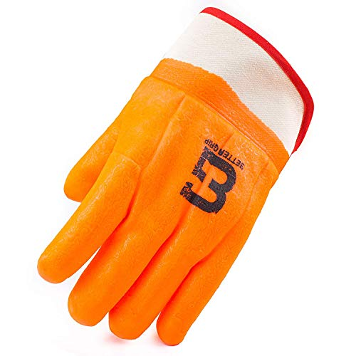 Troy Safety Heavy Duty Premium Sandy finished PVC Coated-Supported Glove with Safety Cuff, Chemical Resistant, Large, Fluorescent Orange (3 Pairs) by Troy Safety (Image #5)