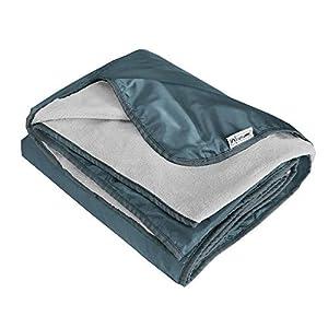 "Lightspeed Outdoors XL Soft Plush Fleece Outdoor Stadium Rainproof and Windproof Picnic Blanket | 72"" x 58"" 2 Person Camp Blanket (Grey)"