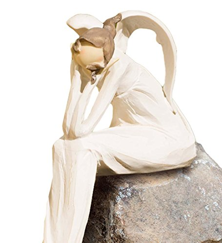 Wind & Weather Thinking Angel Shelf Sitting Outdoor Yard and Garden Statue - Whitewash Finish - 13.5 L x 7 W x 3.75 H