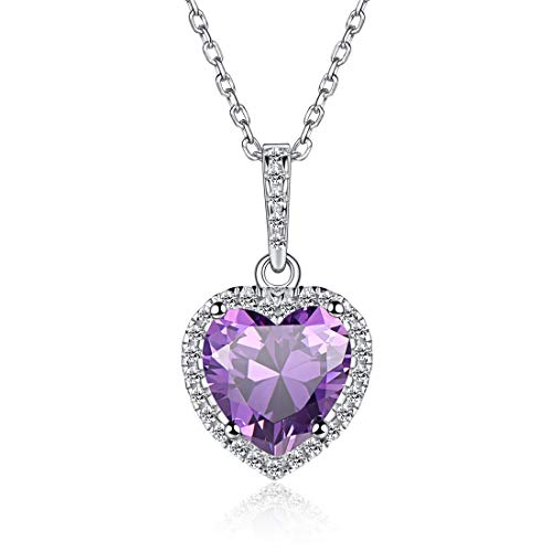 - Heart Necklace Love Alexandrite June Birthstone Necklace Sterling Silver Gemstone Pendant Heart Jewelry Gifts for Women Girls