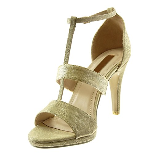 Alto Stiletto Angkorly Tacco Moda Oro Donna 5 9 cm Sandali Scarpe Tacco Lucide Cinturino Decollete Tanga Stiletto con Paillette 6x6rYwq