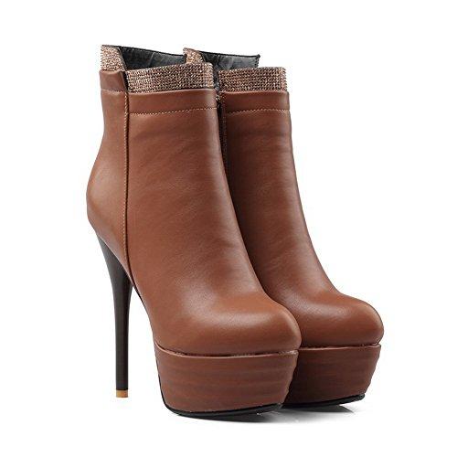 BalaMasa Womens High-Heel Zipper Platform Solid Round-Toe Urethane Boots ABL09791 Brown KOWPvy2Imb