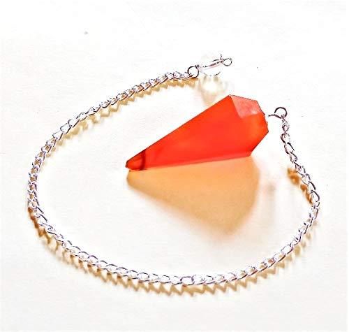Miran Agate Exports Natural Orange Carnelian Gemstone Pendulum Chakra Reiki Healing Dowsing Crystal Divination Faceted Pendulum Chain Reiki Gemstone Charged Pendulum