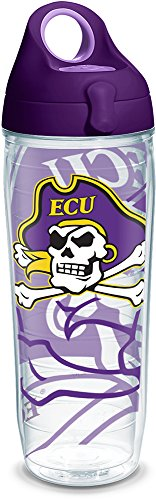 Tervis 1289725 East Carolina Pirates Tumbler with Wrap and Purple Lid, 24oz Water Bottle, (East Carolina Pirates Bottle)