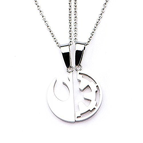 Disney Star Wars Stainless Steel Rogue One Rebel Alliance/Galactic Empire Symbol Cut Out Pendant with Chain