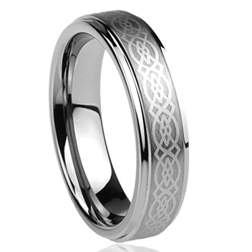 6MM Titanium Mens Womens Rings Laser Etched Celtic Knot Design Comfort Fit Wedding Bands SZ: 9 (Design Comfort Fit Wedding Ring)