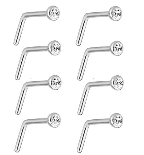 Joybeauti 2mm Stainless Steel Rhinestone Bar Curved L Bend Nose Stud Ring Piercing 20 Gauge Pack of 16 Pcs (White)