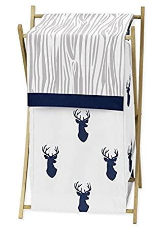 Sweet Jojo Designs Baby//Kids Clothes Laundry Hamper for Navy Blue Mint and Grey Woodsy Deer Boys Bedding Sets