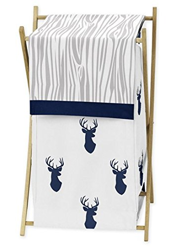 Sweet JoJo Designs Baby Children Kids Clothes Laundry Hamper for Navy Blue White and Grey Woodland Deer Bedding Set by Sweet Jojo Designs