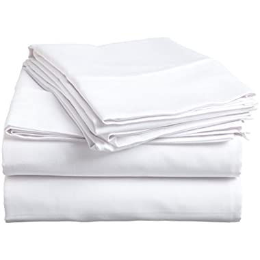 Crafts Linen 4 PCs Sheet Set 100% Organic Cotton Super Deep Poket {16 Inch} King Size  White Solid  {(1)XFitted Sheet,(1)X Flat Sheet And (2)XPillowcase}