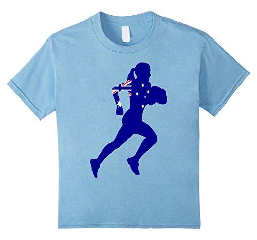 Kids Girls Australian Rugby Jersey Shirt- Australia Flag Shirt 6 Baby Blue - Australian Rugby