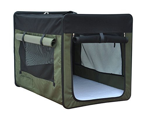 Medium Soft Crate (Captain Pet Light Weight Portable Soft Foldable Washable Pet Carrier Polyester 600D Fabric Dog Crate Soft-Sided Medium Sizes and Green)
