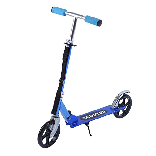 Homgrace Folding Kick Scooter with 2 PU Wheels Adjustable Height For Adults Teens and Kids, Lightweight and Portable (blue)