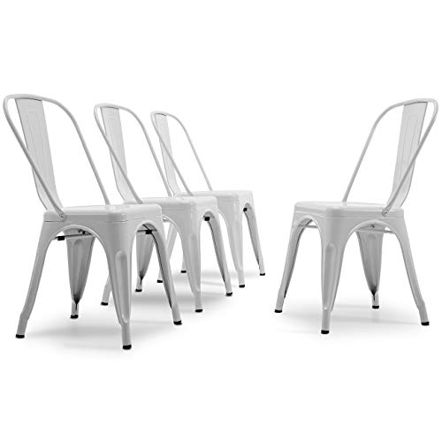- Belleze Set of (4) Vintage Style Dining Chairs Steel High Back Chairs Side Stool (White)