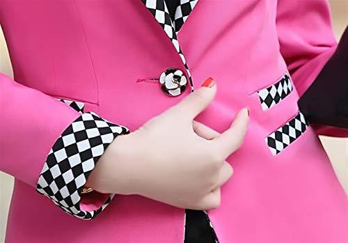 Ufficio Collo Lunga Donna Tailleur Corto Giacche Fit Slim Primaverile Rotondo Cappotto Blazer Manica Da Cardigan Casual Autunno Rosa Giacca Chic Fashion Eleganti Breasted Single Ragazza wtfTqtxX