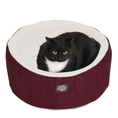 20 inch Burgundy Cat Cuddler Pet Cat Bed By Majestic Pet ()