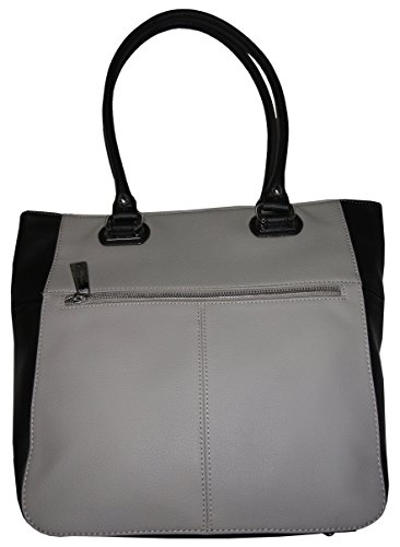 Tignanello Women's Genuine Leather Perfect Pockets Medium Tote, Dove Grey/Black Tignanello Genuine Leather