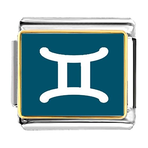 GiftJewelryShop Gold Plated Gemini Zodiac Charm Bracelet Link Photo Italian Charm Bracelets