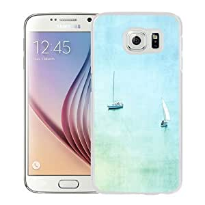 NEW Unique Custom Designed Samsung Galaxy S6 Phone Case With Recreational Boats Watercolor Painting_White Phone Case
