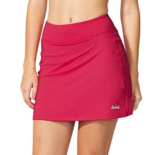 Baleaf Women's Active Athletic Skort Lightweight Skirt with Pockets for Running Tennis Golf Workout Deep Pink Size S (Clothing Ladies Golf)