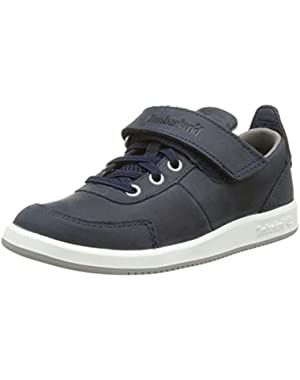 Court Side Oxford Navy Leather Junior Boat Shoes