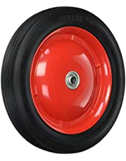 Shepherd Hardware 9596 10-Inch Semi-Pneumatic Rubber Tire, Steel Hub with Ball Bearings, Ribbed Tread, 1/2-Inch Centered Axle Diameter