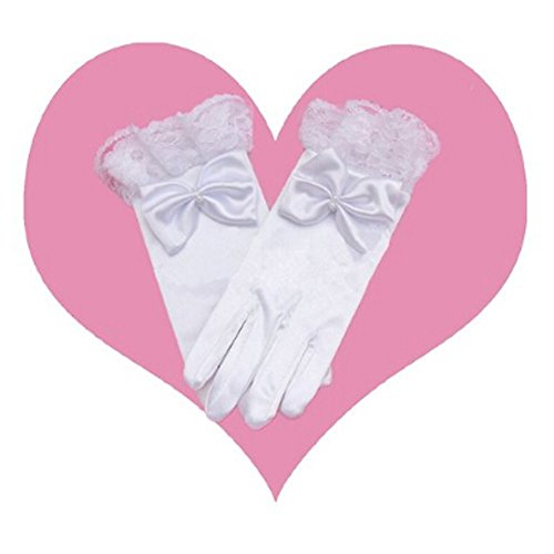[Girls Wedding Pageant Party Full Length Satin Bowknot Dress Formal Wrist Gloves White] (Little Girl Pageant Costumes)
