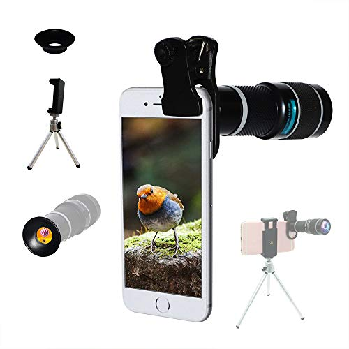 Cell Phone Camera Lens,Universal 20X Clip-On Zoom Telephoto Lens,Stronger Phone Tripod, Monocular Telescope Eyecup Mobile Suitable Almost 98% Smartphones On The Market Compatible iPhone Samsung