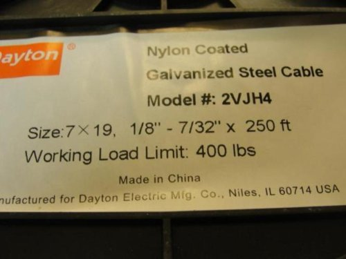 Dayton 2VJH4 Cable, 1/8 In, L250Ft, WLL400Lb, 7x19, Steel