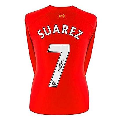 buy online a2d28 3b1ee Luis Suarez Autographed Jersey - Liverpool Shirt 2013 2014 ...