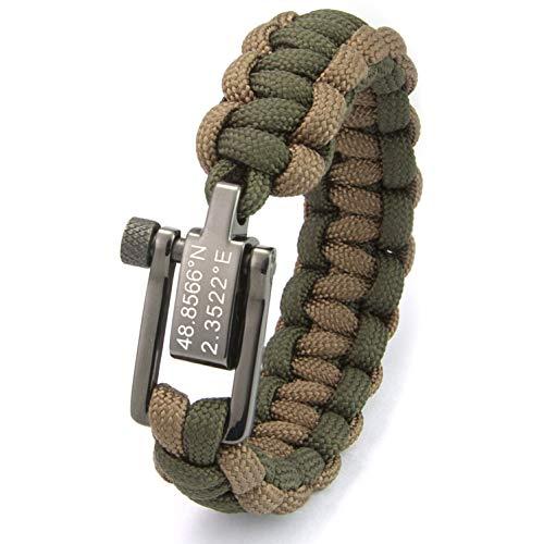 Team Name Script Bracelet - Xpium Personalized Coordinate Paracord Survival Bracelet with Gunmetal Stainless Steel Shackle, Adjustable for 8