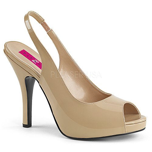Pleaser Pink Label Women's Eve04/Cr Platform Dress Sandal, Cream Patent, 13 M US