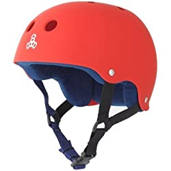 Triple Eight Helmet with Sweat Saver Liner, United Red Rubber, Medium